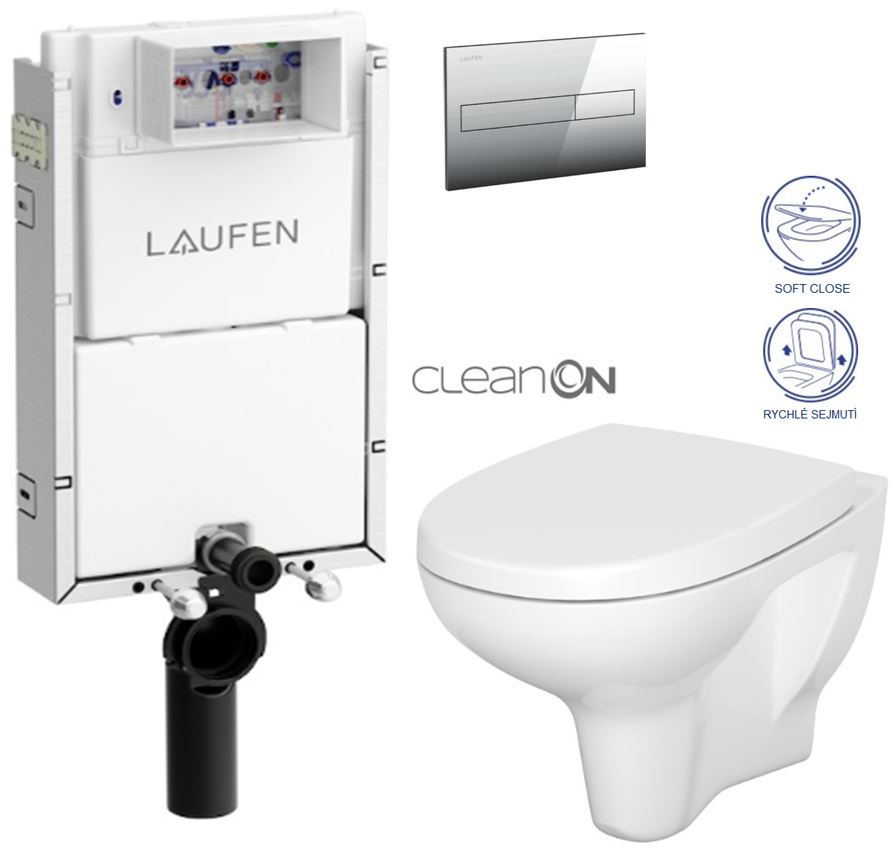 AKCE/SET/LAUFEN Podomít. systém LIS TW1 SET + ovládací tlačítko CHROM + WC CERSANIT ARTECO CLEAN ON + SEDÁTKO H8946630000001CR AT1