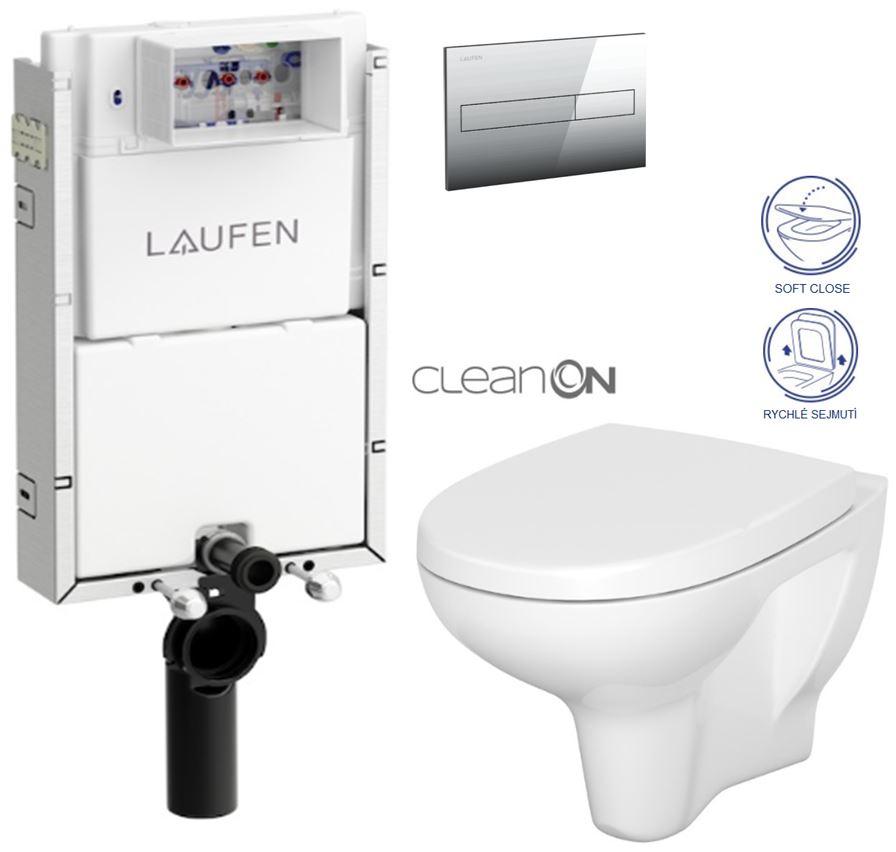 AKCE/SET/LAUFEN - Podomít. systém LIS TW1 SET + ovládací tlačítko CHROM + WC CERSANIT ARTECO CLEAN ON + SEDÁTKO (H8946630000001CR AT1)