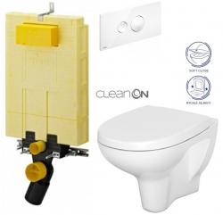 AKCE/SET/VIEGA - SET MONO modul WC čelní ovládání + ovládací tlačítko BÍLÉ + WC CERSANIT ARTECO CLEAN ON + SEDÁTKO (V606732BI AT1)