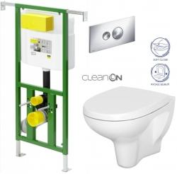 AKCE/SET/VIEGA - Eko PLUS modul do jádra WC čelní ovládání  SET + ovládací tlačítko CHROM + WC CERSANIT ARTECO CLEAN ON + SEDÁTKO (V622176CR AT1)