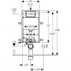GEBERIT - SET KOMBIFIXBasic včetně ovládacího tlačítka DELTA 50 CR pro závěsné WC CERSANIT ARTECO CLEANON (110.100.00.1 50CR AT2), fotografie 20/14
