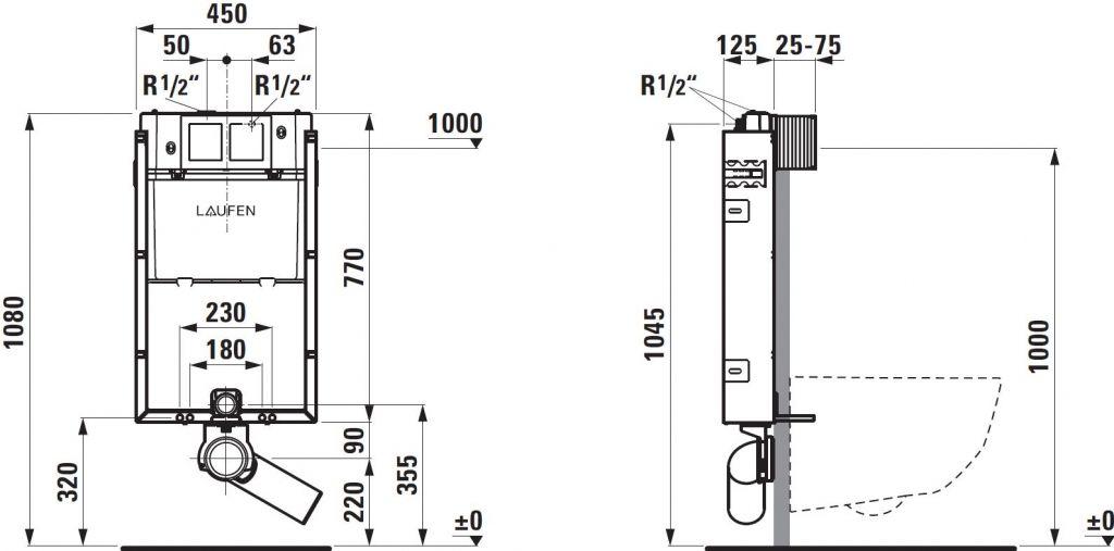 LAUFEN Podomít. systém LIS TW1 SET s chromovým tlačítkem + WC CERSANIT ARTECO CLEANON + SEDÁTKO (H8946630000001CR AT2)
