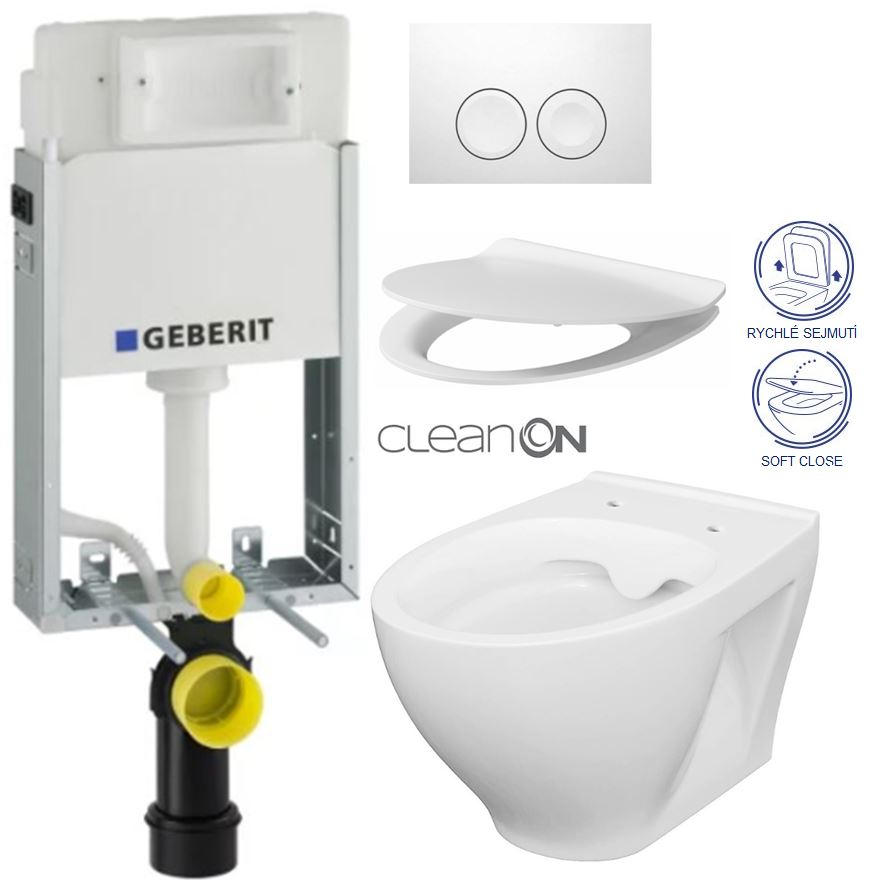 AKCE/SET/GEBERIT - KOMBIFIXBasic včetně ovládacího tlačítka DELTA 21 Bílé pro závěsné WC CERSANIT CLEANON MODUO + SEDÁTKO (110.100.00.1 21BI MO1)