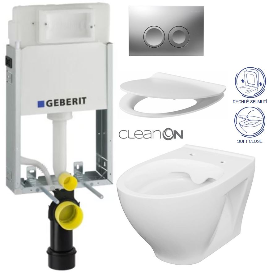AKCE/SET/GEBERIT - KOMBIFIXBasic včetně ovládacího tlačítka DELTA 21 MAT pro závěsné WC CERSANIT CLEANON MODUO + SEDÁTKO (110.100.00.1 21MA MO1)