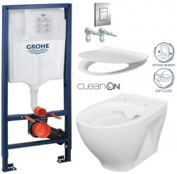 Rapid SL pro závěsné WC 38528SET s chromovou deskou + WC CERSANIT CLEANON MODUO + SEDÁTKO (38772001 MO1)