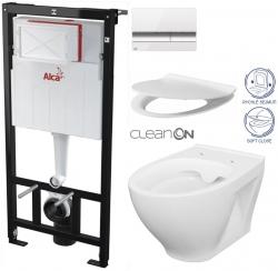 Sádromodul - předstěnový instalační systém + tlačítko M1720-1 + WC CERSANIT CLEANON MODUO + SEDÁTKO (AM101/1120 M1720-1 MO1) - AKCE/SET/ALCAPLAST
