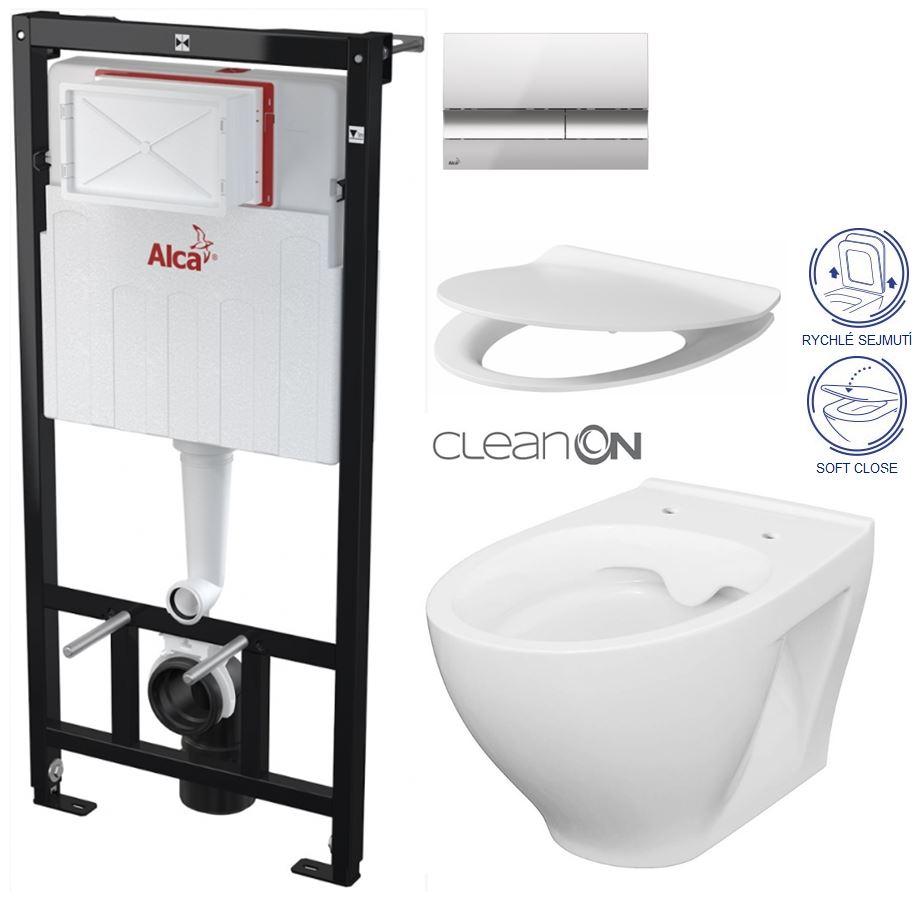 AKCE/SET/ALCAPLAST - Sádromodul - předstěnový instalační systém + tlačítko M1721 + WC CERSANIT CLEANON MODUO + SEDÁTKO (AM101/1120 M1721 MO1)