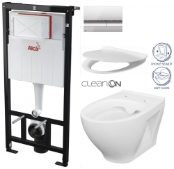 ALCAPLAST  Sádromodul - předstěnový instalační systém s chromovým tlačítkem M1721 + WC CERSANIT CLEANON MODUO + SEDÁTKO (AM101/1120 M1721 MO1)