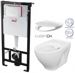 AKCE/SET/ALCAPLAST - Sádromodul - předstěnový instalační systém + WC CERSANIT CLEANON MODUO + SEDÁTKO (AM101/1120 X MO1)