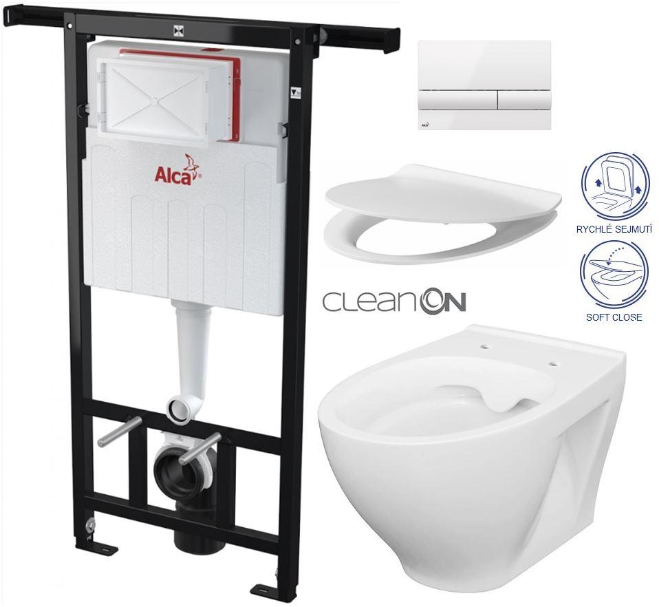 AKCE/SET/ALCAPLAST - Jádromodul - předstěnový instalační systém + tlačítko M1710 + WC CERSANIT CLEANON MODUO + SEDÁTKO (AM102/1120 M1710 MO1)