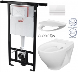 ALCAPLAST  Jádromodul - předstěnový instalační systém s bílým tlačítkem M1710 + WC CERSANIT CLEANON MODUO + SEDÁTKO (AM102/1120 M1710 MO1)