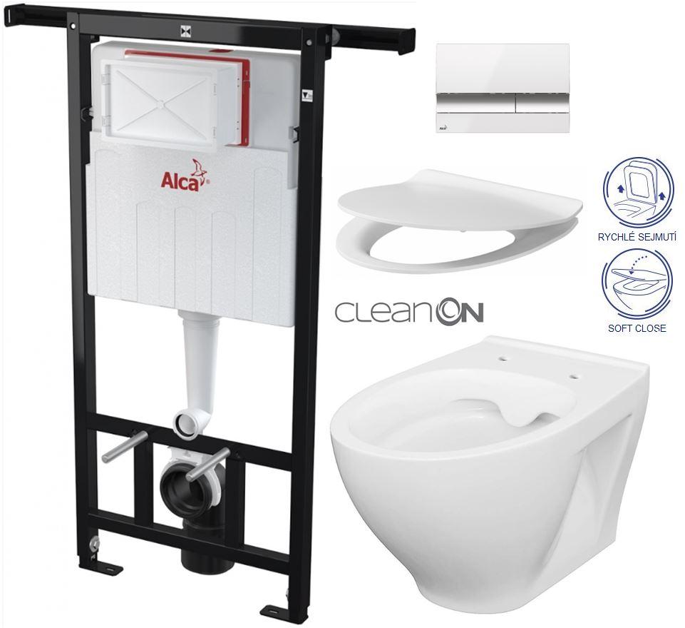 AKCE/SET/ALCAPLAST - Jádromodul - předstěnový instalační systém + tlačítko M1720-1 + WC CERSANIT CLEANON MODUO + SEDÁTKO (AM102/1120 M1720-1 MO1)