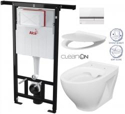 AKCE/SET/ALCAPLAST - SET Jádromodul - předstěnový instalační systém + tlačítko M1720-1 + WC CERSANIT CLEANON MODUO + SEDÁTKO (AM102/1120 M1720-1 MO1)