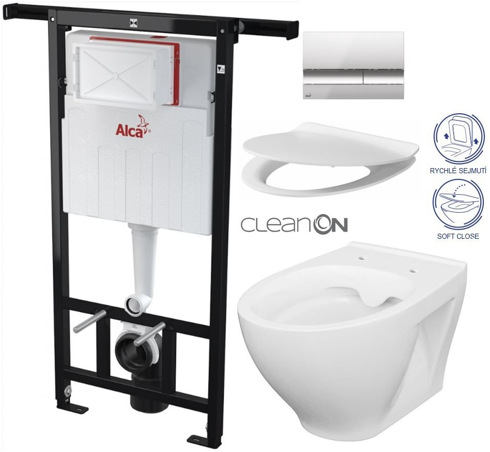AKCE/SET/ALCAPLAST - Jádromodul - předstěnový instalační systém + tlačítko M1721 + WC CERSANIT CLEANON MODUO + SEDÁTKO (AM102/1120 M1721 MO1)