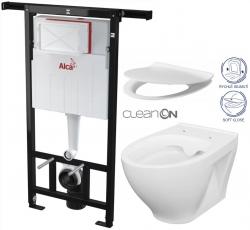 ALCAPLAST  Jádromodul - předstěnový instalační systém bez tlačítka + WC CERSANIT CLEANON MODUO + SEDÁTKO (AM102/1120 X MO1)