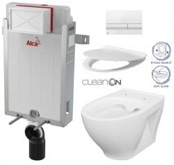 ALCAPLAST  Renovmodul - předstěnový instalační systém s bílým tlačítkem M1710 + WC CERSANIT CLEANON MODUO + SEDÁTKO (AM115/1000 M1710 MO1)
