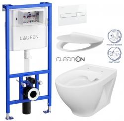 LAUFEN Rámový podomítkový modul CW1 SET s bílým tlačítkem + WC CERSANIT CLEANON MODUO + SEDÁTKO (H8946600000001BI MO1)