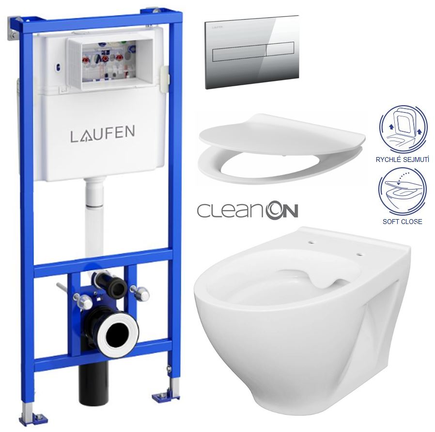 AKCE/SET/LAUFEN - Rámový podomítkový modul CW1  SET + ovládací tlačítko CHROM + WC CERSANIT MODUO CLEANON + SEDÁTKO (H8946600000001CR MO1)