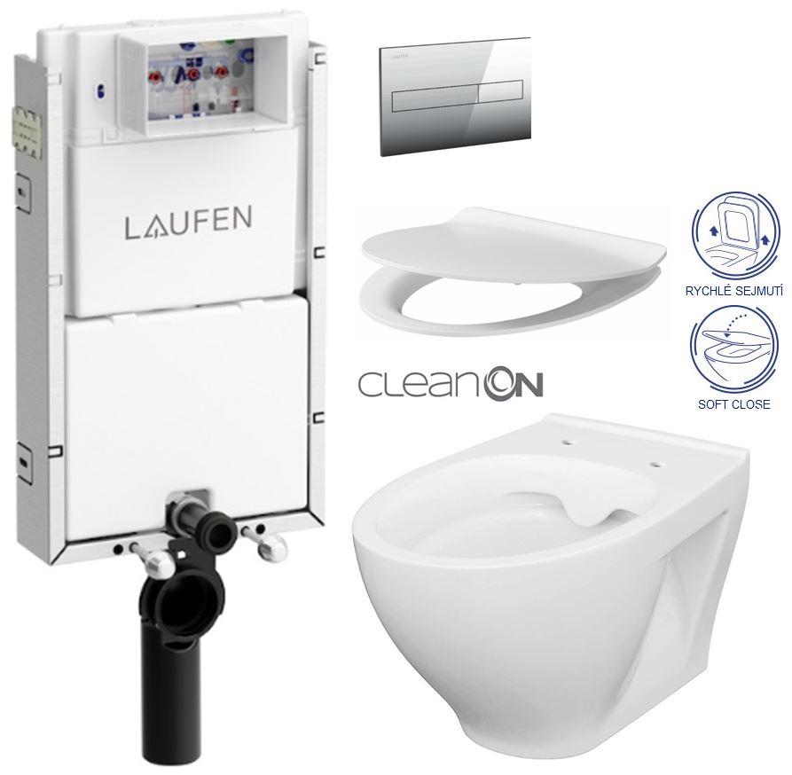 AKCE/SET/LAUFEN - Podomít. systém LIS TW1 SET + ovládací tlačítko CHROM + WC CERSANIT MODUO CLEANON + SEDÁTKO (H8946630000001CR MO1)