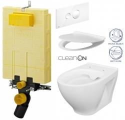 AKCE/SET/VIEGA - SET MONO modul WC čelní ovládání + ovládací tlačítko BÍLÉ + WC CERSANIT MODUO CLENON + SEDÁTKO (V606732BI MO1)