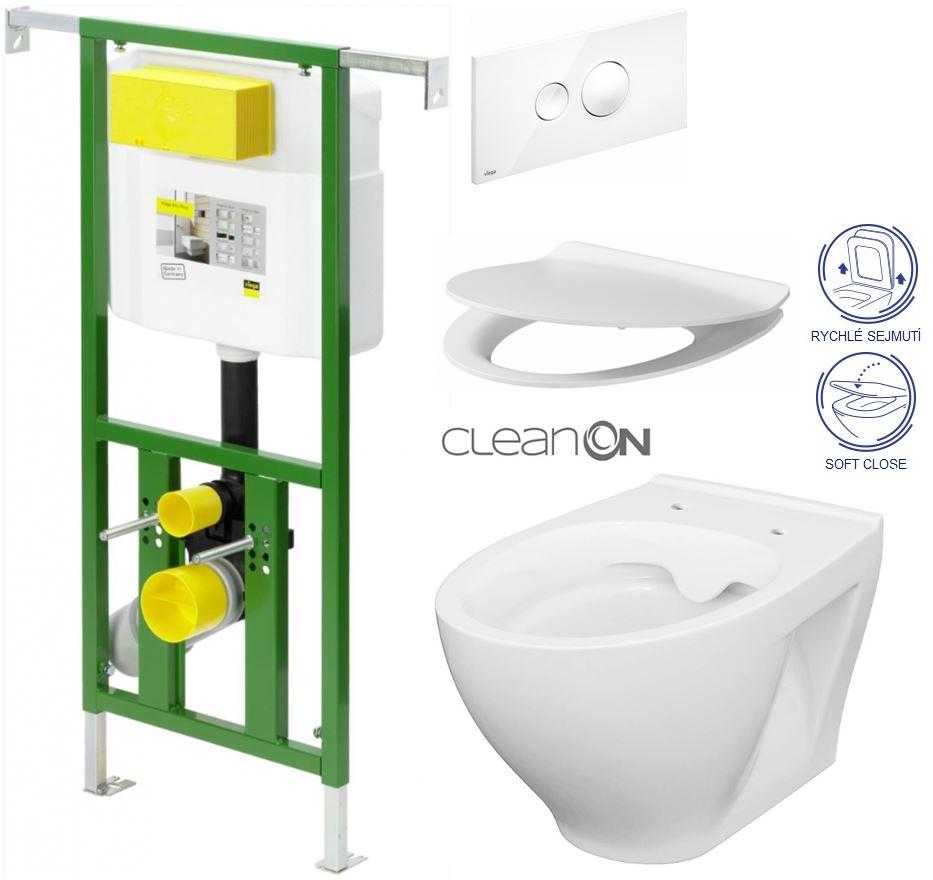 AKCE/SET/VIEGA - Eko PLUS modul do jádra WC čelní ovládání  SET BÍLÉ + ovládací tlačítko BÍLÉ + WC CERSANIT MODUO CLEANON + SEDÁTKO (V622176BI MO1)