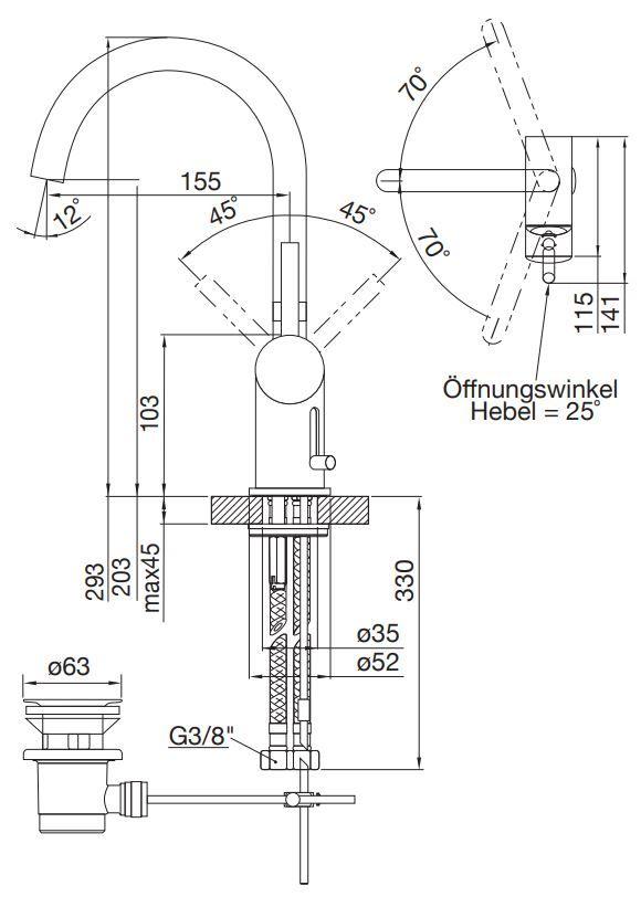 STEINBERG - Umyvadlová páková baterie s výpustí, černá mat (100 1500 S)
