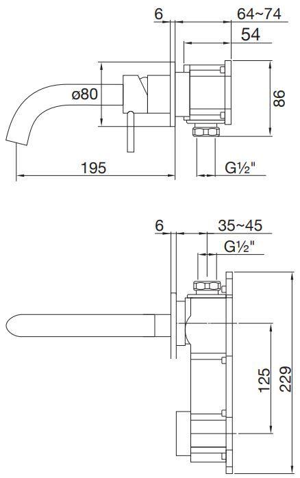 STEINBERG - Umyvadlová podomítková páková baterie s výtokem 195mm, bez tělesa, černá mat  (100 1814 S)
