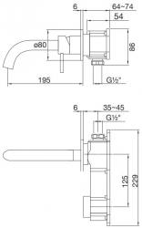 Umyvadlová podomítková páková baterie s výtokem 195mm, bez tělesa, černá mat  (100 1814 S) - STEINBERG, fotografie 14/7