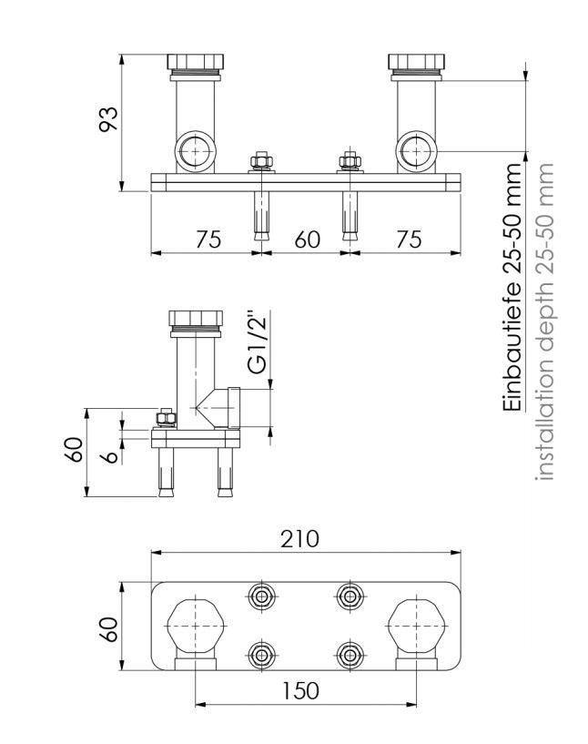 STEINBERG - Těleso pro montáž baterie na podlahu (010 1160)