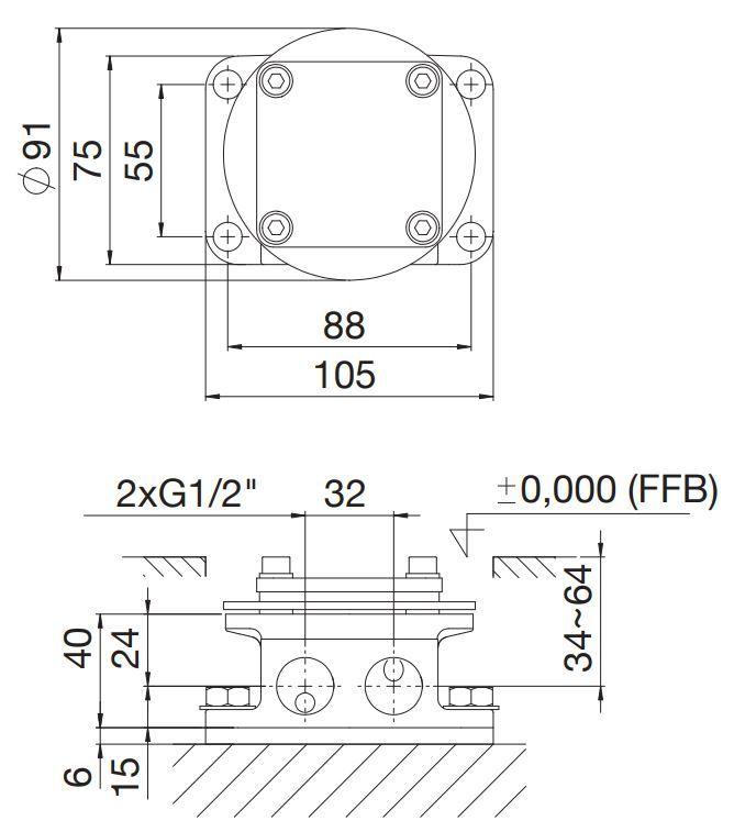 STEINBERG - Montážní univerzální těleso pro volně stojící baterie vana/ sprcha (020 1162)