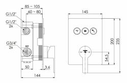STEINBERG - Podomítková páková baterie se systémem PUSHTRONIC, 3 výstupy (390 2231), fotografie 14/8