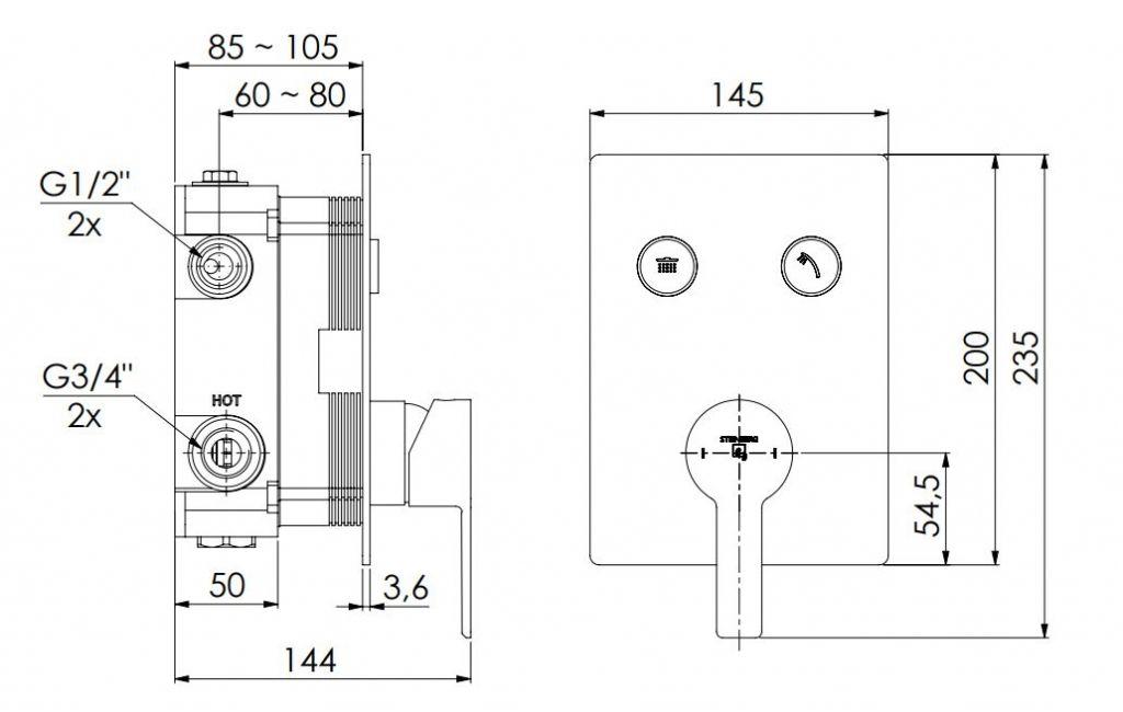 STEINBERG - Podomítková páková baterie se systémem PUSHTRONIC, 2 výstupy (390 2221)