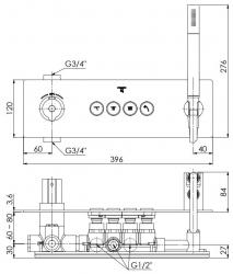 STEINBERG - Podomítková termostatická souprava se systémem PUSHTRONIC, 4 výstupy (390 4242), fotografie 14/8