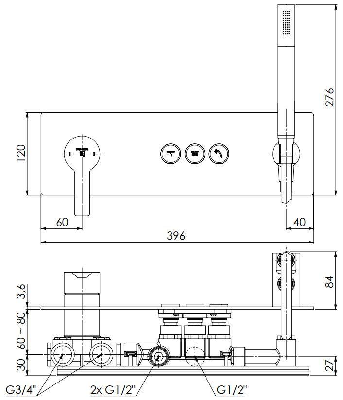 STEINBERG - Podomítková páková souprava se systémem PUSHTRONIC, 3 výstupy (390 2232)