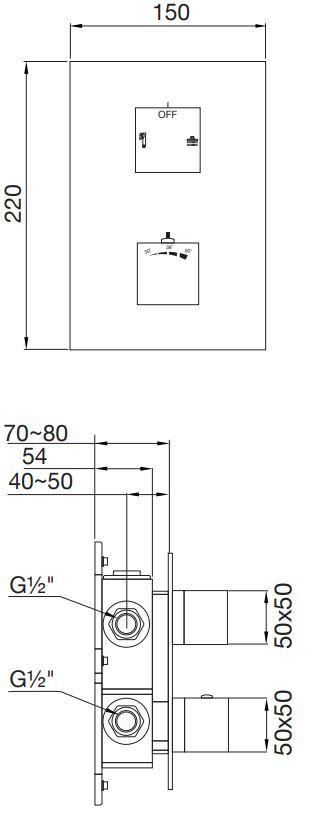 STEINBERG - Podomítková termostatická baterie, 2-cestná, černá mat  (160 4133 S)