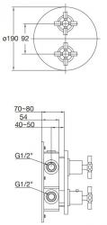 STEINBERG - Podomítková termostatická baterie /bez tělesa/, 2 výstupy, chrom (250 4133), fotografie 12/6