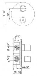 STEINBERG - Podomítková termostatická baterie 3-cestná /bez montážního tělesa/, chrom (100 4123 1), fotografie 10/5