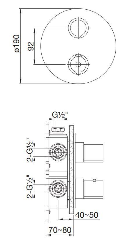 STEINBERG - Podomítková termostatická baterie 3-cestná, bez tělesa, černá mat (100 4123 1 S)
