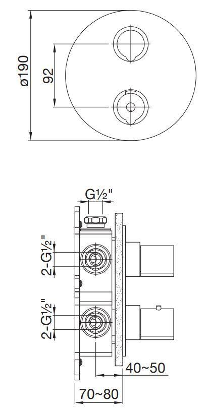 STEINBERG - Podomítková termostatická baterie 3-cestná, bez tělesa, kartáčovaný nikl  (100 4123 1 BN)