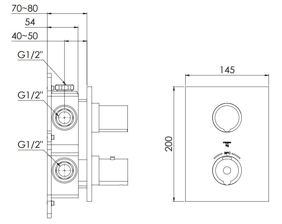 STEINBERG - Podomítková termostatická baterie 3-cestná /bez tělesa/, chrom (120 4123 1)