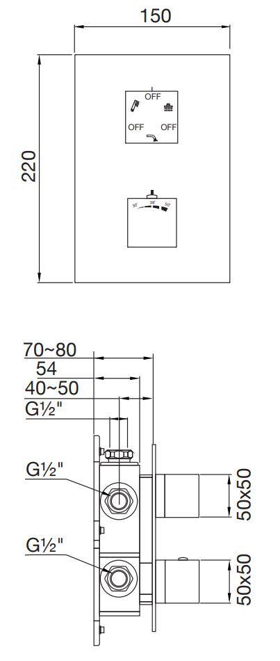 STEINBERG - Termostatická podomítková baterie /bez tělesa/, 3 výstupy, chrom (160 4123)