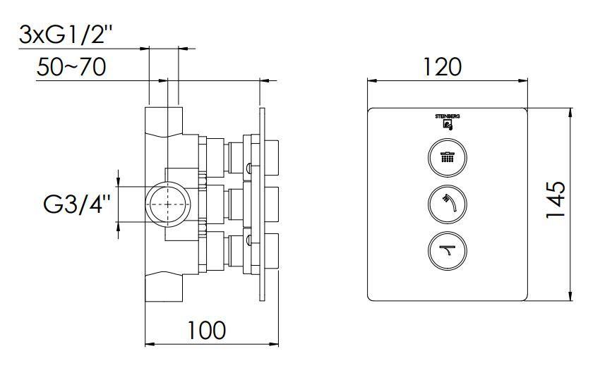 STEINBERG - Podomítkový 3-cestný ventil, včetně podomít. tělesa, chrom  (390 4131)