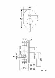 Podomítková páková baterie pro vanu/sprchu s přepínačem, černá mat (100 2103 S) - STEINBERG, fotografie 2/1
