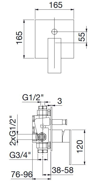 STEINBERG - Podomítková páková baterie pro vanu/sprchu s přepínačem, černá mat (160 2103 S)