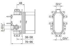 "STEINBERG - STEINBOX Podomítkové montážní těleso 1/2"" pro vanové/sprchové baterie, chrom (010 2110), fotografie 2/1"