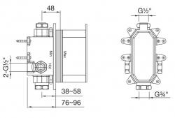 """STEINBOX Podomítkové montážní těleso 1/2"""" pro vanové/sprchové baterie, černá mat (010 2110 S) - STEINBERG, fotografie 2/1"""