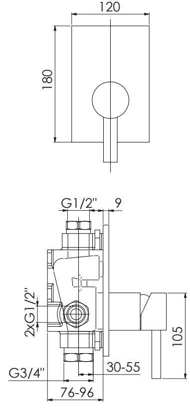 STEINBERG - Podomítková jednopáková směšovací baterie pro vanu/ sprchu, chrom (120 2243)