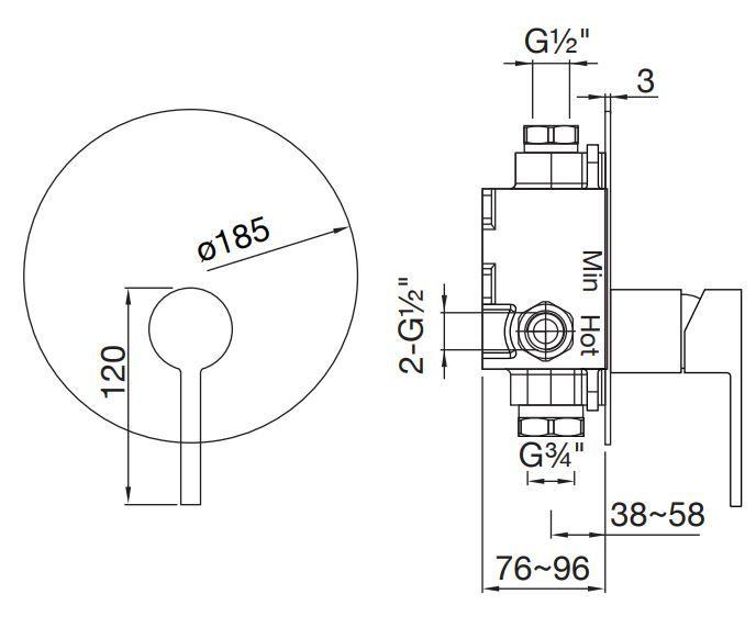 STEINBERG - Podomítková jednopáková směšovací baterie pro vanu/ sprchu, chrom (260 2243)