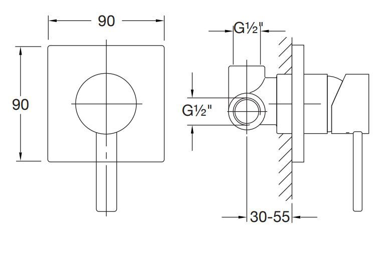 STEINBERG - Podomítková páková baterie včetně montážního tělesa 1/2