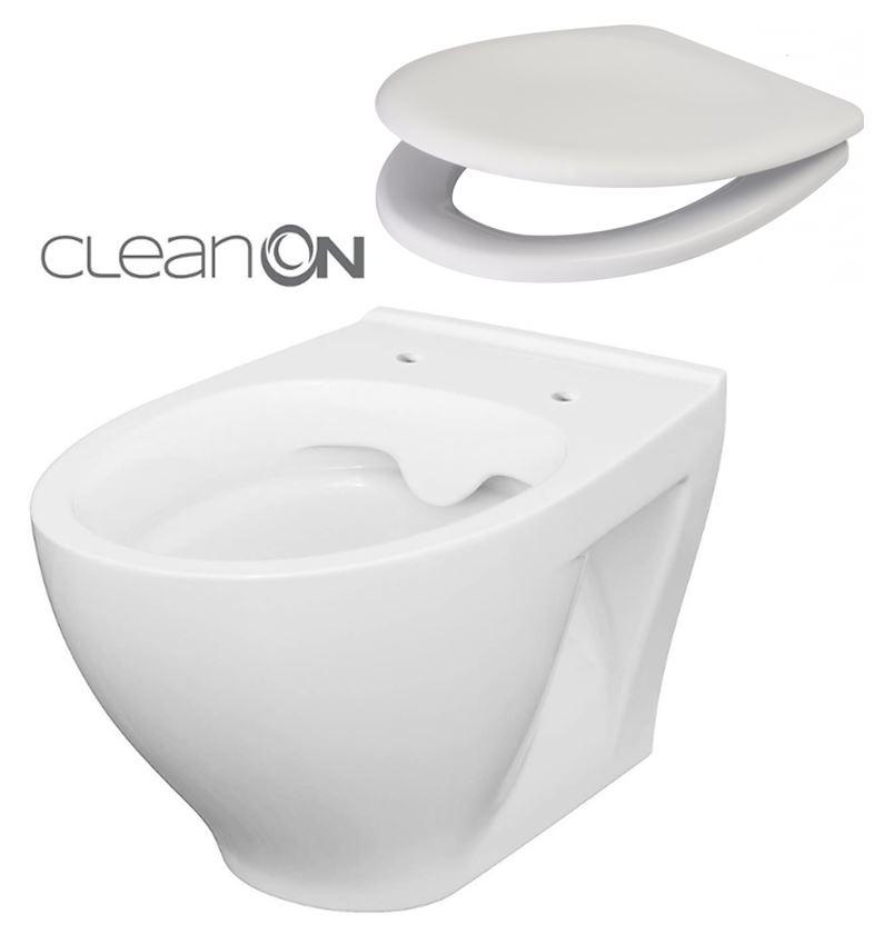 CERSANIT - SET ZÁVĚSNÁ WC MÍSA MODUO CLEANON + WC SEDÁTKO  (K701-264)